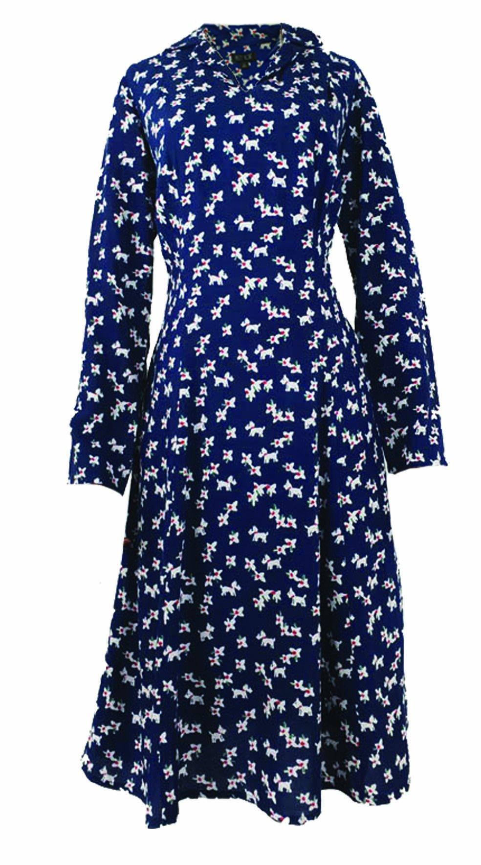 Daphne Pretty Vacant Doggy/Flower Print Dress - BouChic