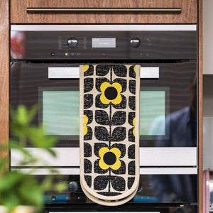 Double Oven Glove Scribble Square Flower Black & Yellow Orla Kiely - BouChic