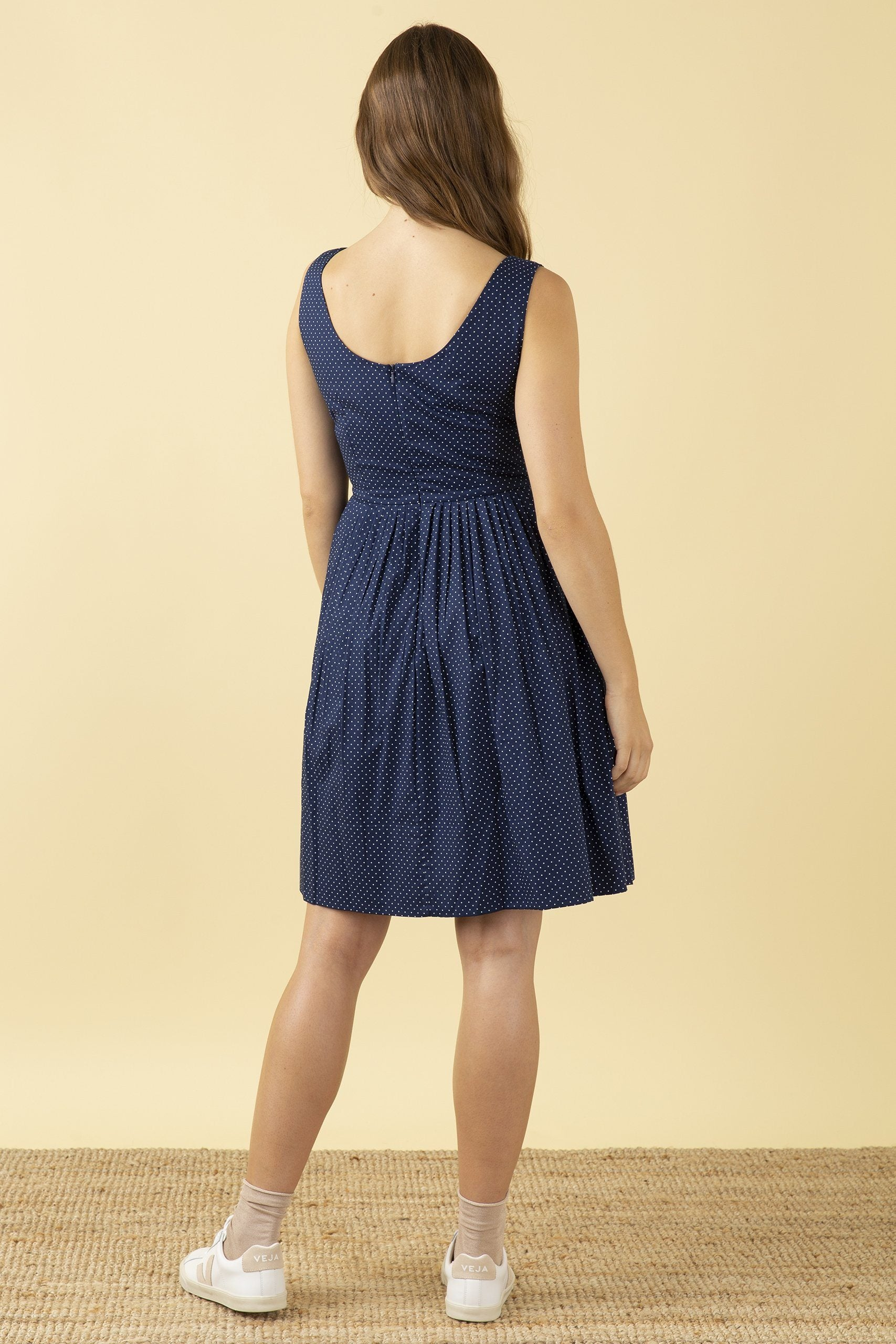 Emily & Fin Abigail Dress Navy Pin Dot - BouChic
