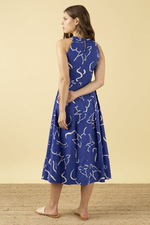 Emily & Fin Alyssa Dress Brushstroke Dove - Blue - BouChic