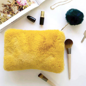 Faux Fur Mustard and Teal Pom Pom Bag - BouChic