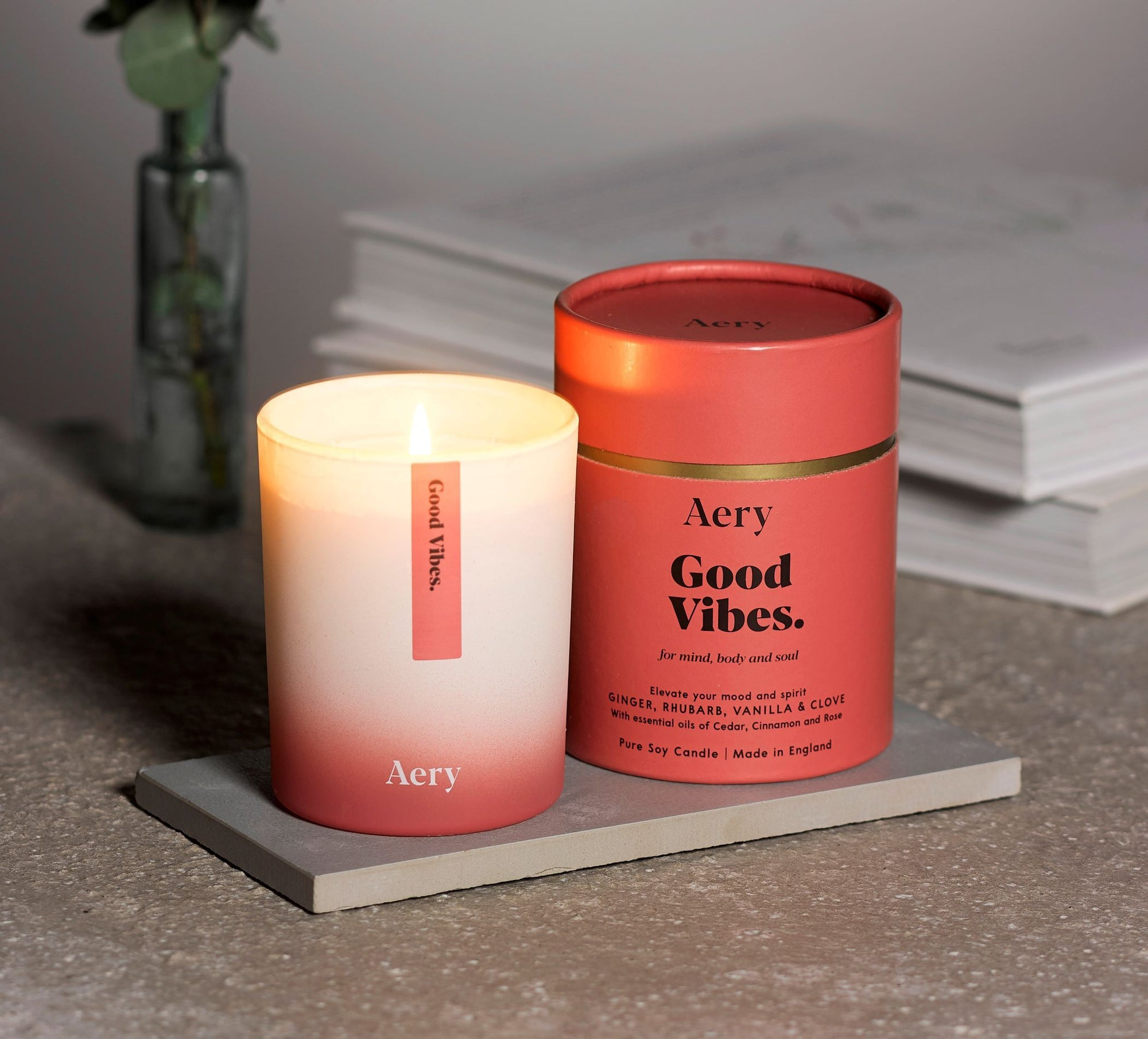 Good Vibes Scented Soy Candle - Ginger Rhubarb & Vanilla - BouChic