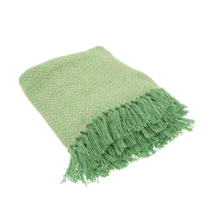 Green Herringbone Blanket Throw - BouChic
