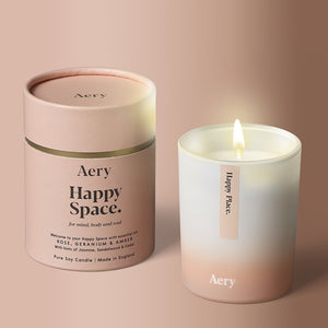 Happy Space Scented Candle - Rose Geranium and Amber - BouChic