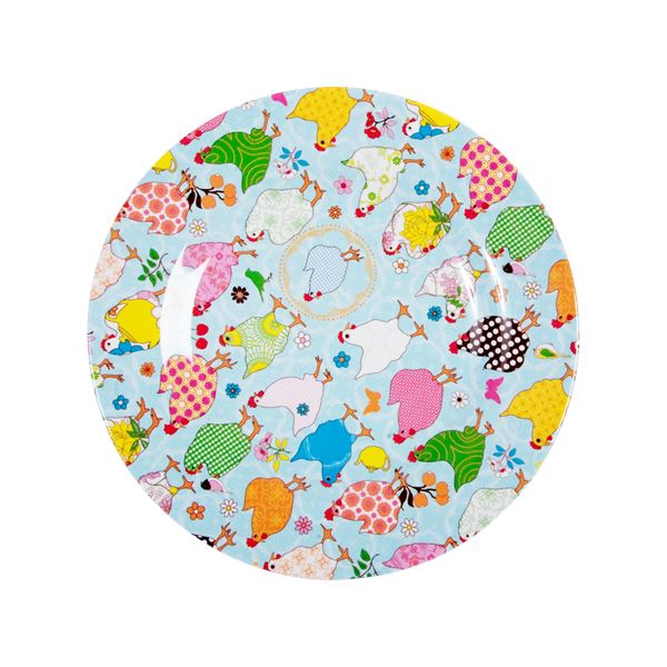 Melamine Round Side Plate Hens On Light Blue - BouChic