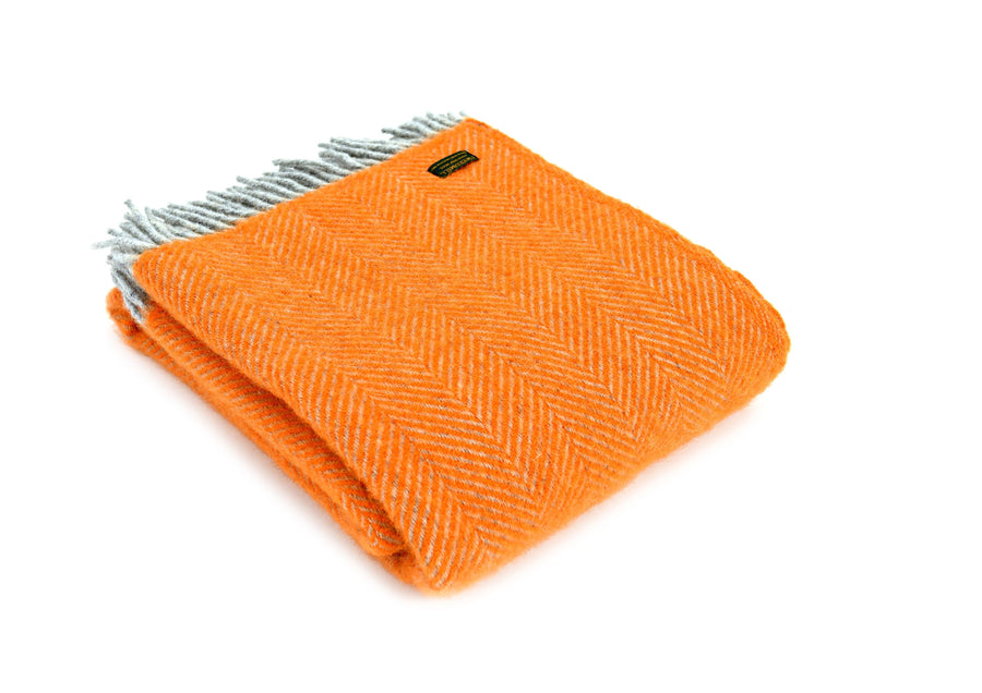 Herringbone Orange and Grey wool Throw Throw Bouchic