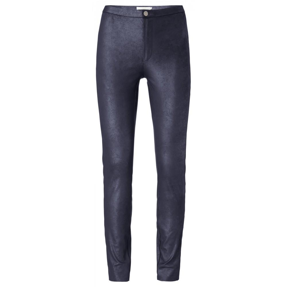 Imitation Leather Leggings Dark Navy - BouChic