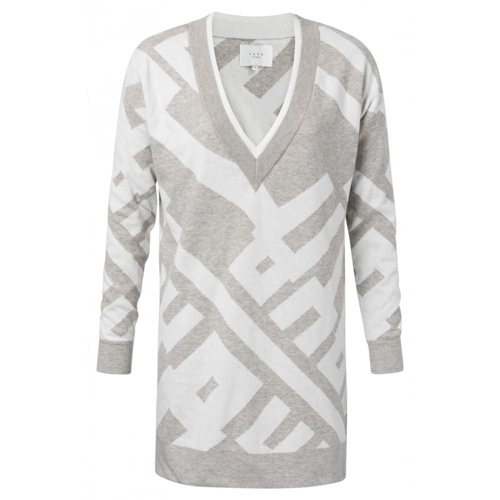 Jacquard Light Grey Sweater with Graphic Print - BouChic