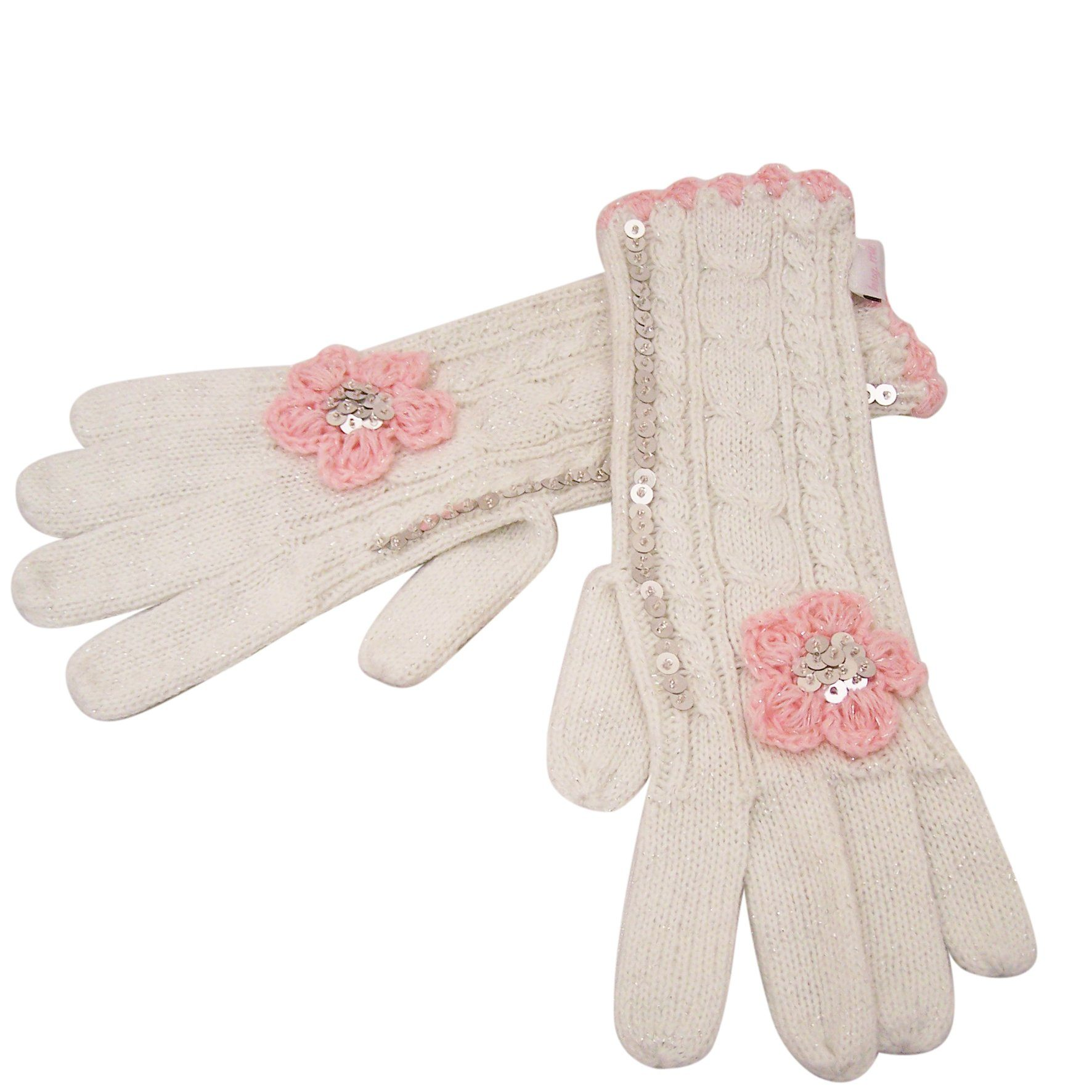 Knitted Flower Gloves Cream with Pink - BouChic