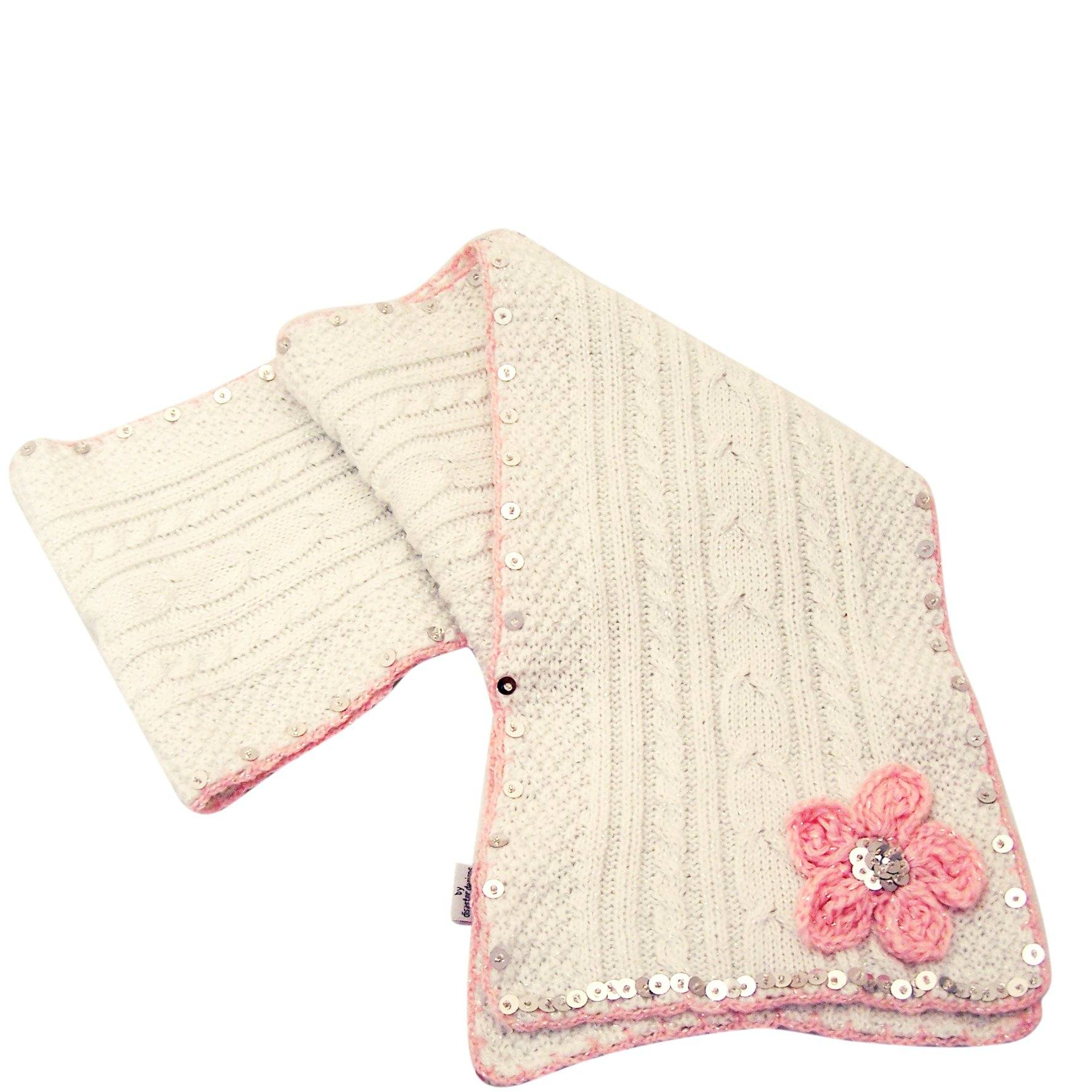 Knitted Flower Scarf Cream With Pink - BouChic