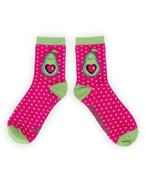 Ladies Avocado Bamboo Ankle Socks Fuchsia Pink - BouChic