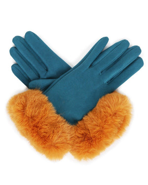 Ladies Bettina Faux Suede Gloves Mustard/Teal - BouChic
