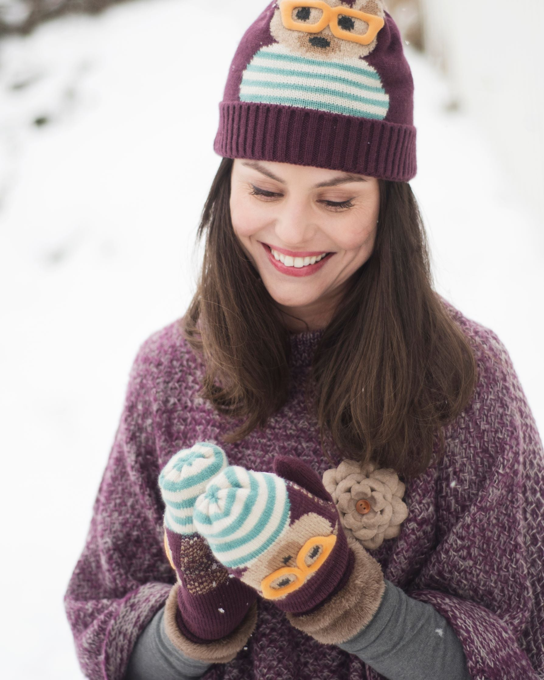 Ladies Cosy Teddy Hat Damson - BouChic