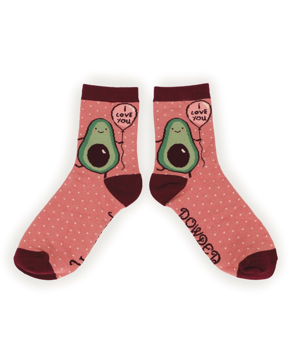 Ladies 'I Love You' Avocado Bamboo Socks - Pink - BouChic