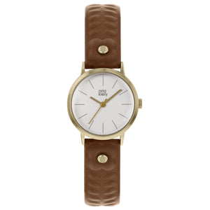 Ladies Stem Embossed Leather Strap Watch Tan - BouChic