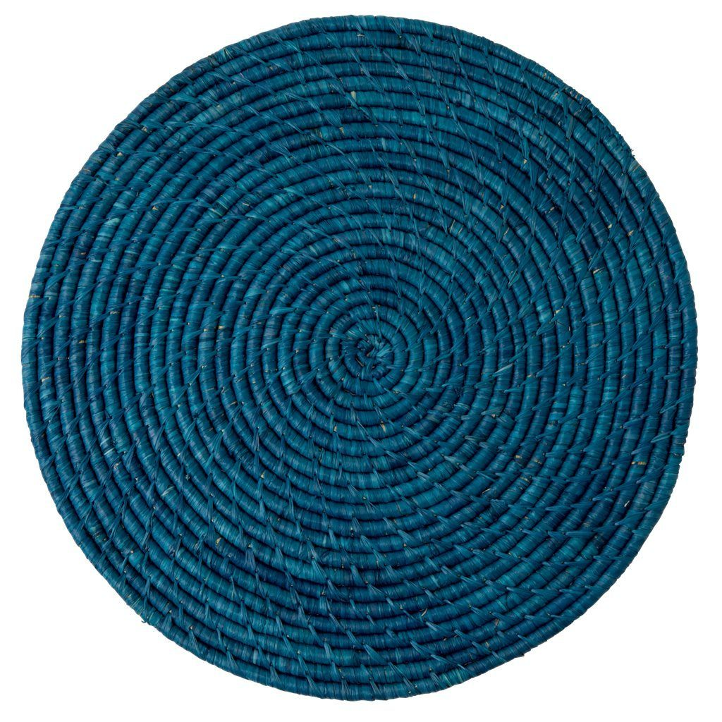 Large Round Raffia Placemat Dark Blue - BouChic