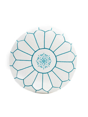Leather Pouffe White with Turquoise Stitching - BouChic