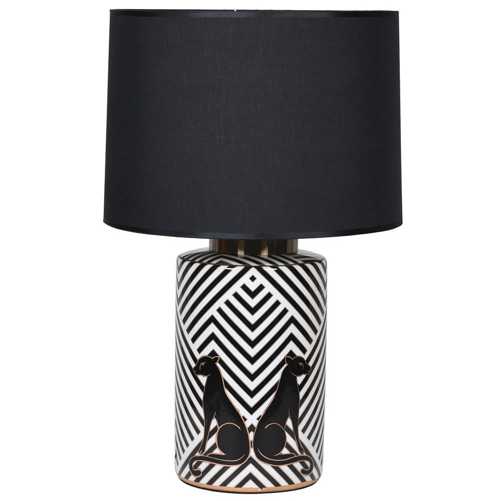 Leopard Porcelain Lamp with Black Shade - BouChic