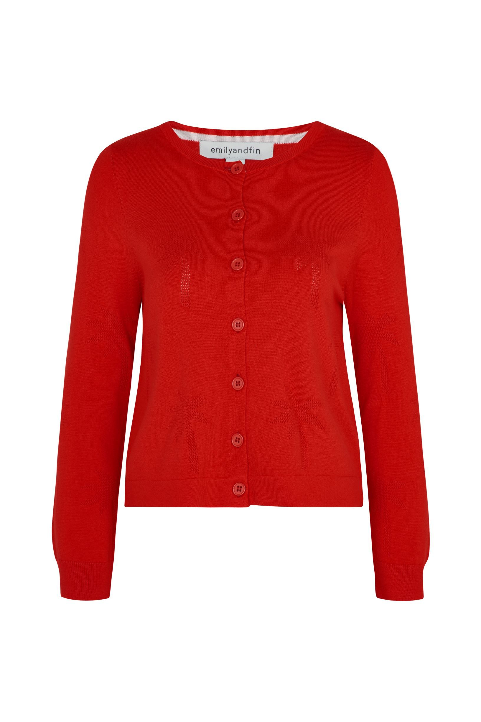 Lily Palm Emily & Fin Tree Red Cardigan - BouChic