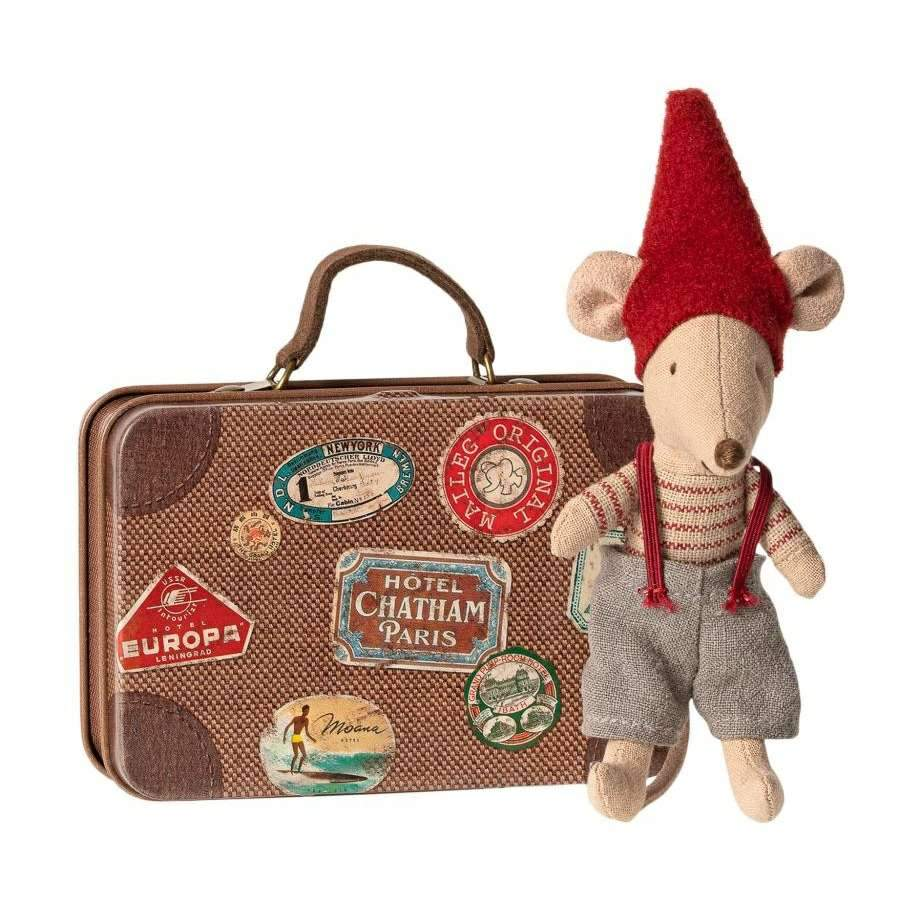 Little Brother Christmas Mouse in a Suitcase - BouChic