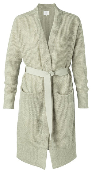 Long Belted Cardigan Dessert Green Melange - BouChic