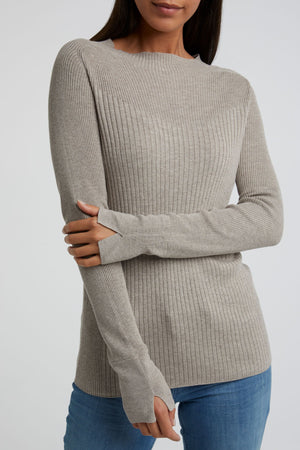 Long Sleeve Sweater Beach Sand Melange - BouChic