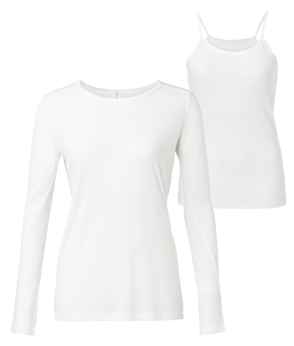 Long Sleeve Top With Singlet Off White - BouChic