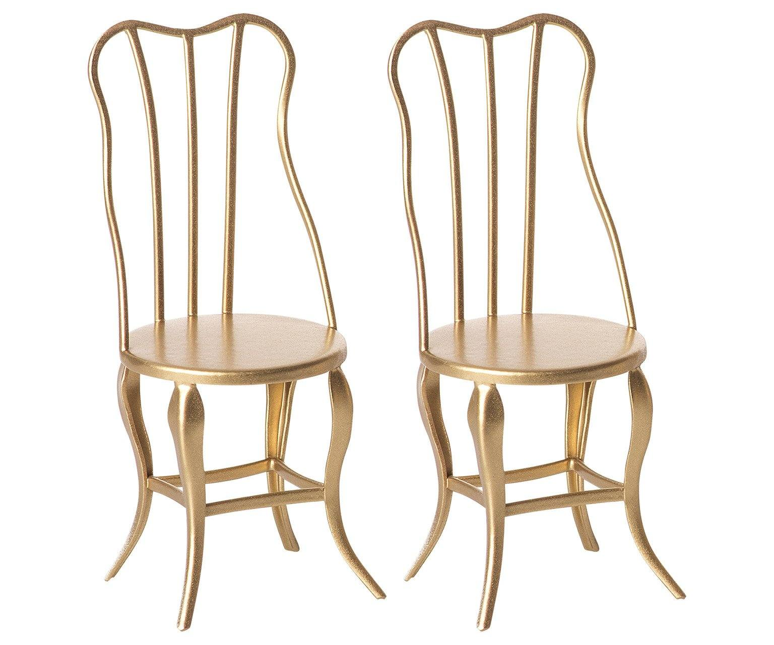 Maileg Gold Vintage Chairs Micro - Set of 2 - BouChic