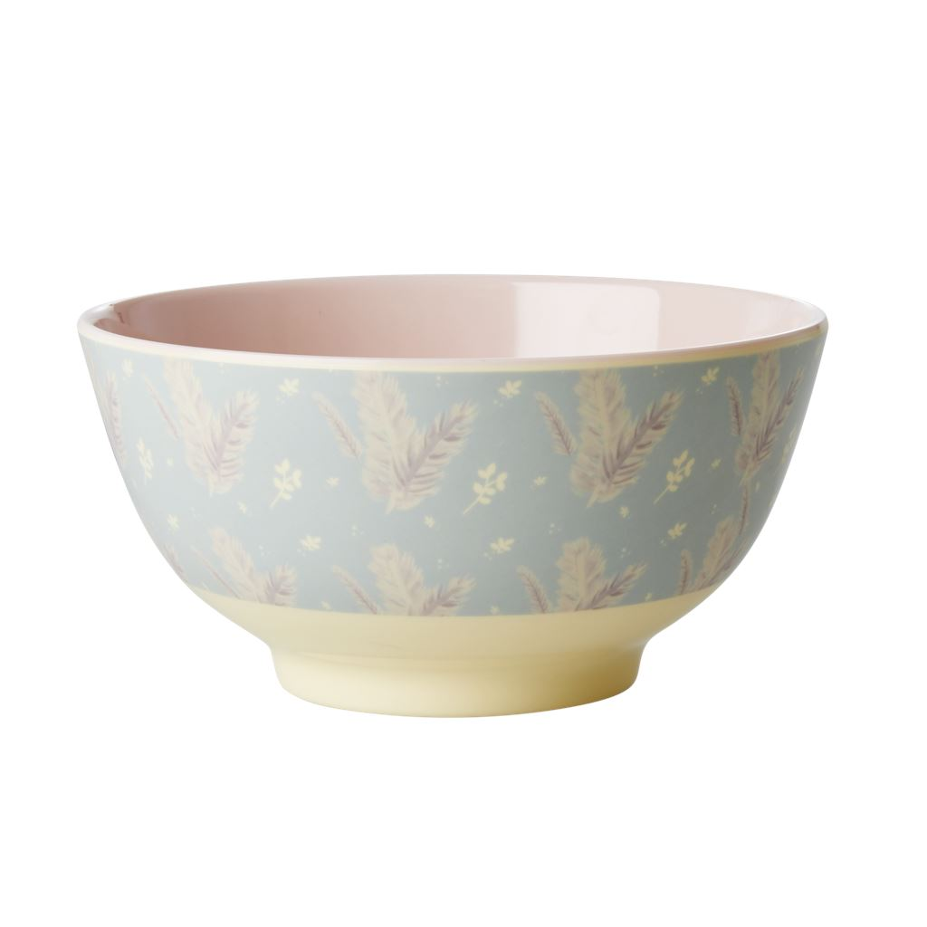 Melamine Large Bowl Delicate Floral on Pale Blue - BouChic