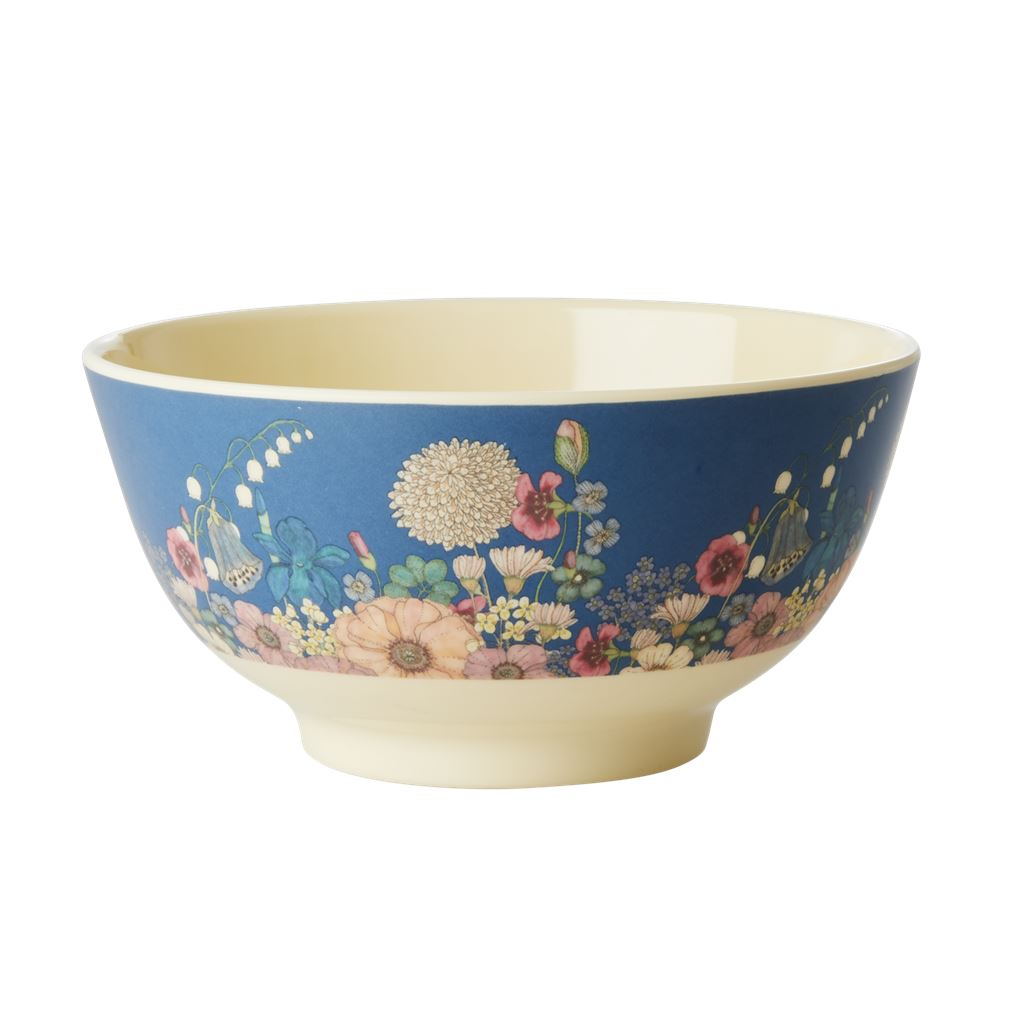 Melamine Large Bowl Floral On Blue - BouChic