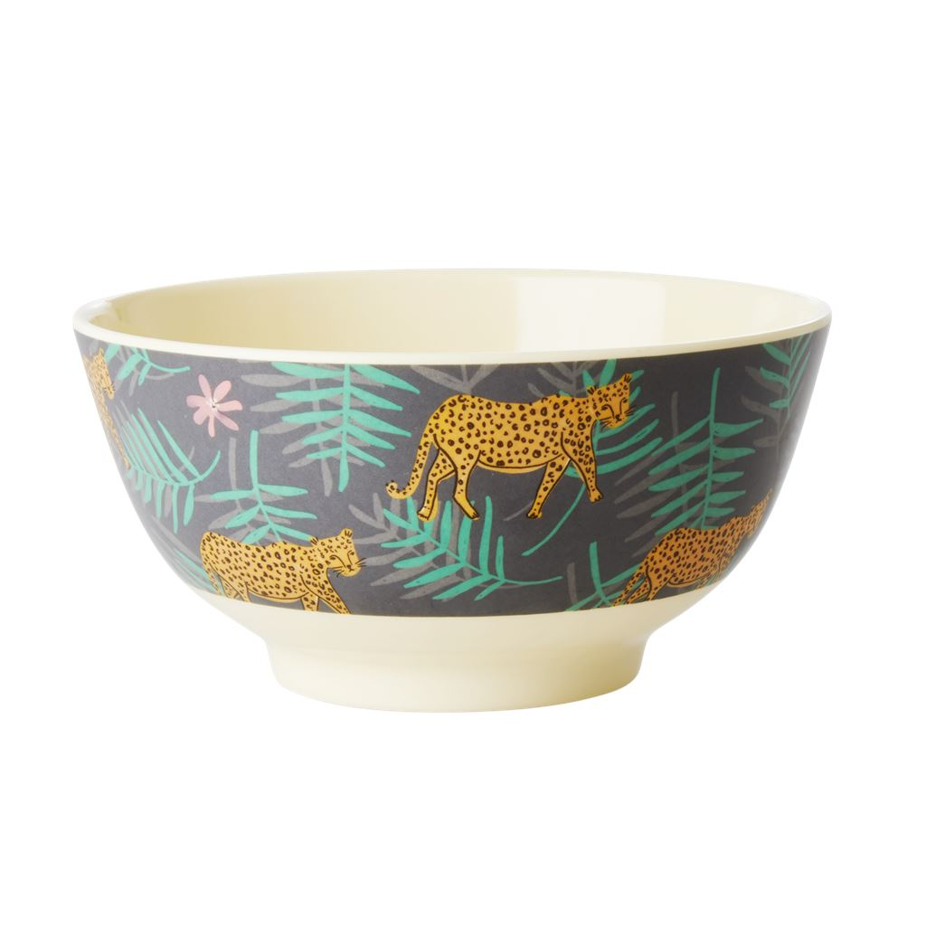 Melamine Bowl Leopard And Leaves Print Medium - BouChic