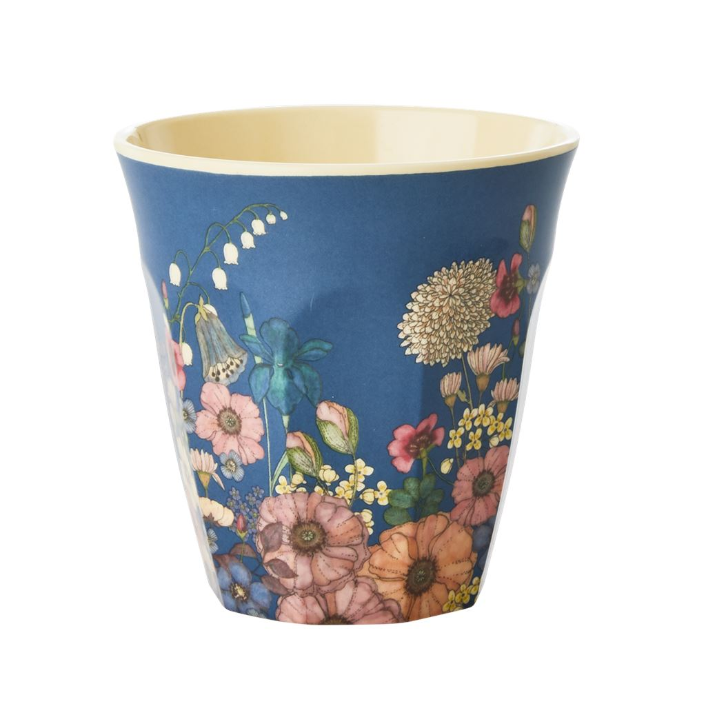 Melamine Cup Floral On Blue - BouChic