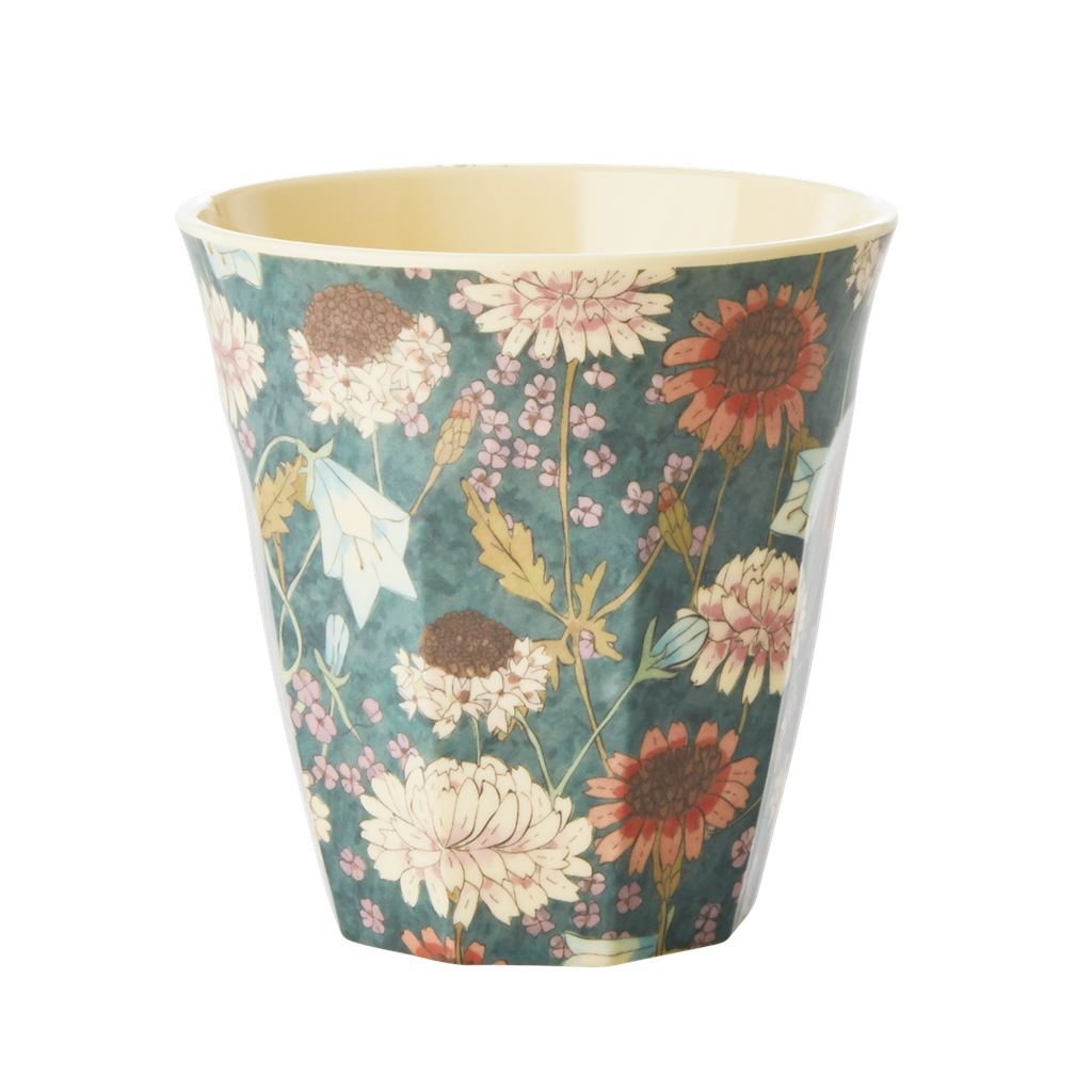 Melamine Cup Floral on Blue/Green - BouChic