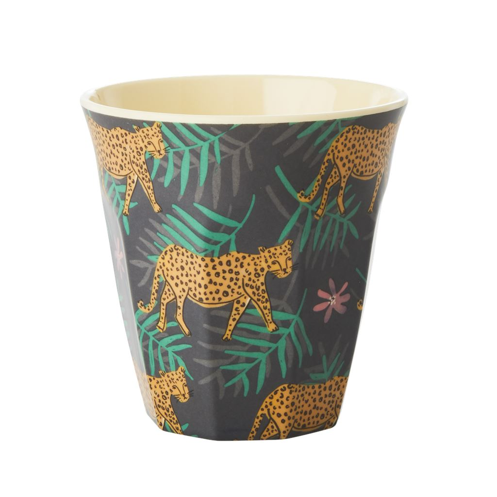 Melamine Cup Leopard With Leaves - BouChic