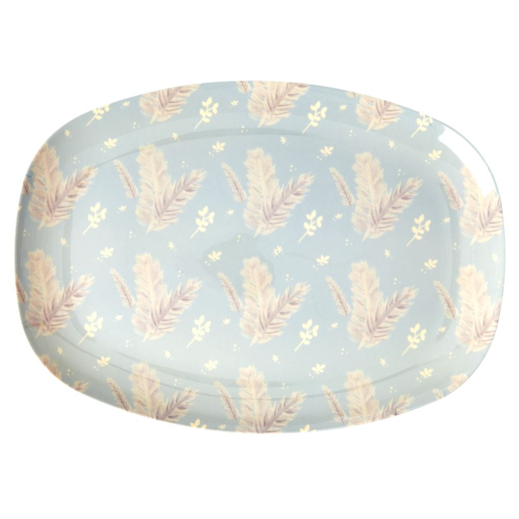 Melamine Rectangular Plate Floral Design on Pale Blue - BouChic