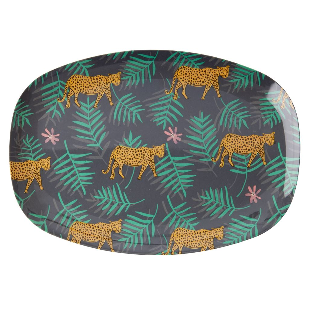 Melamine Rectangular Plate Leopard And Leaves Print - BouChic