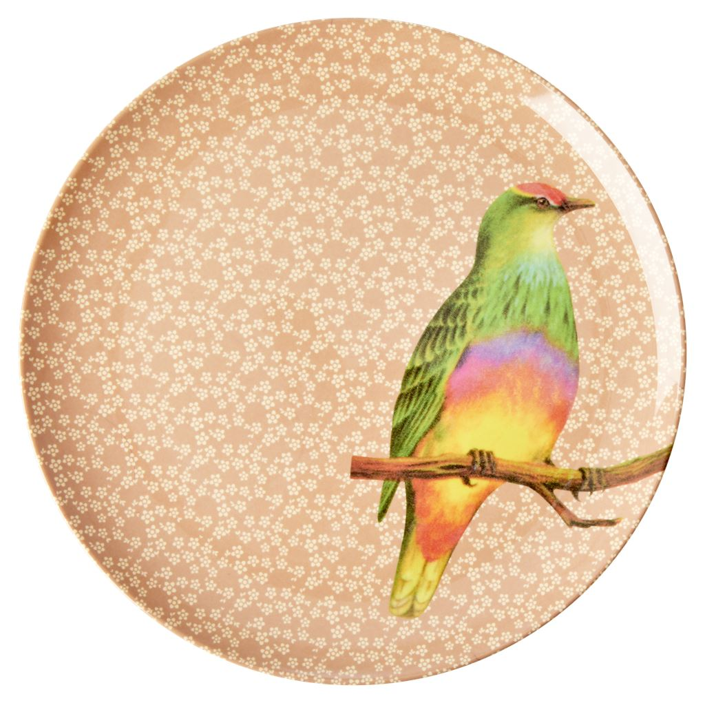 Melamine Large Round Plate Colourful Bird on Light Pink - BouChic