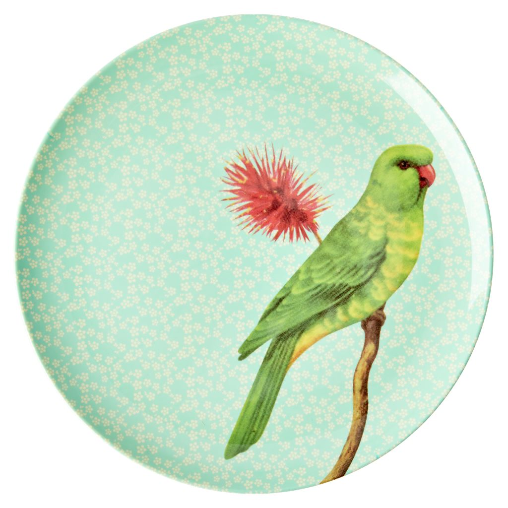 Melamine Large Round Plate Green Bird On Light Blue - BouChic
