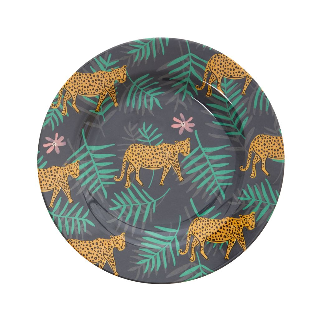 Melamine Round Plate Leopard And Leaves Print - BouChic