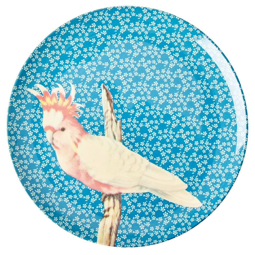 Melamine Large Round Plate Pink Bird On Blue - White Flowers - BouChic