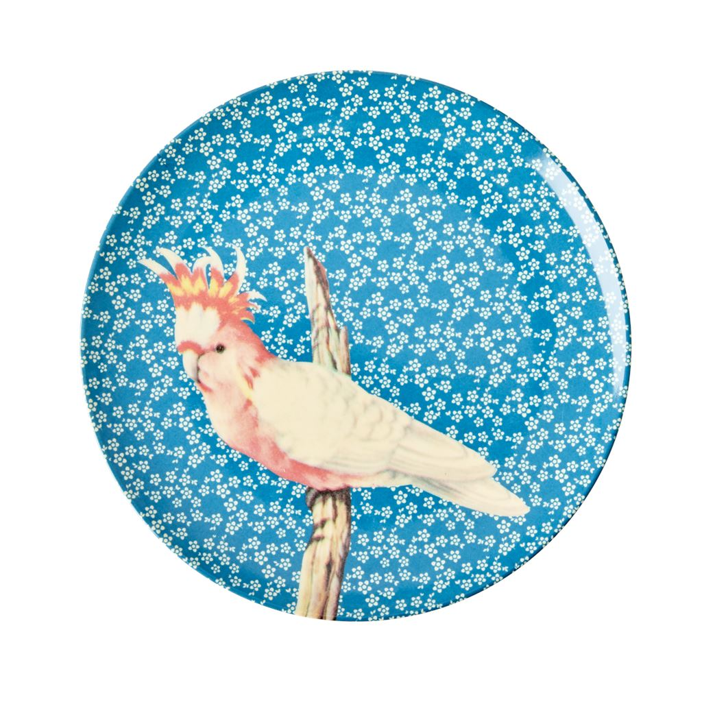 Melamine Small Round Plate Pink Bird On Blue - White Flowers - BouChic