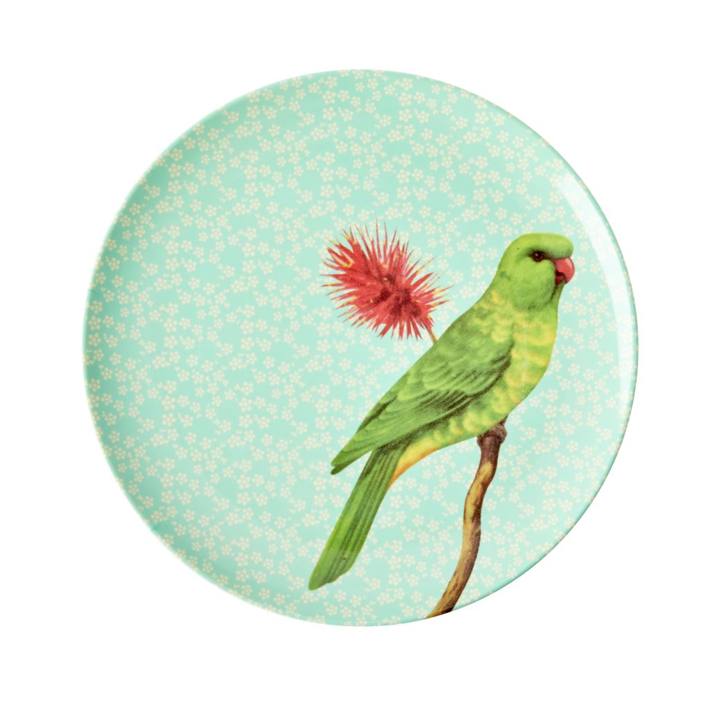 Melamine Small Round Side Plate Green Bird On Pale Blue - BouChic