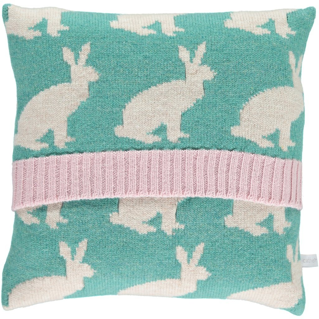 Merino Lambswool Rabbit Cushion - Spearmint Green & Light Pink - BouChic