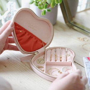 Metallic Arrows Heart Travel Jewellery Case Pink - BouChic
