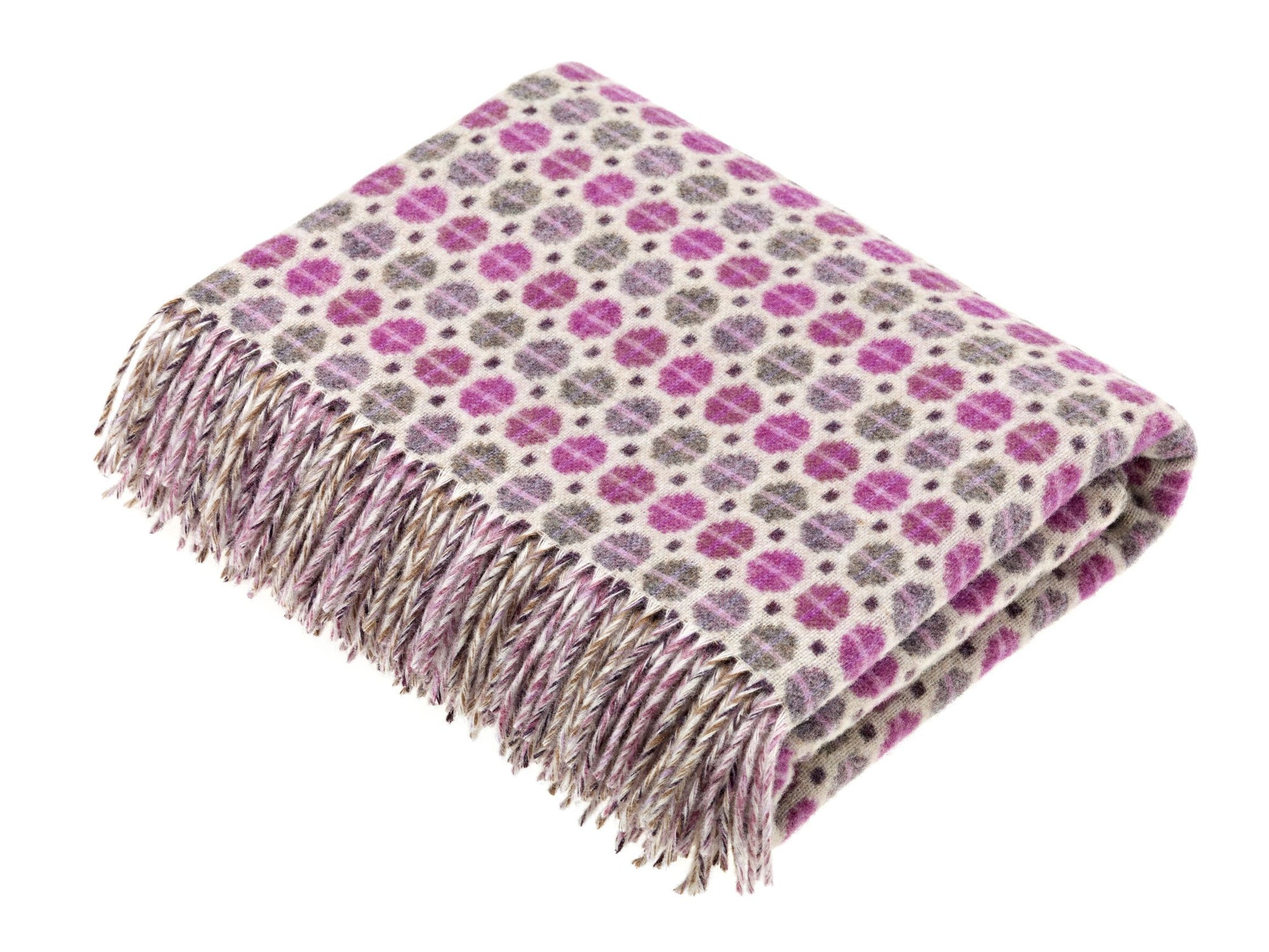Milan Throw Purple & Grey Pattern - BouChic
