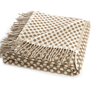 Natural Lambswool Reversible Spot Throw - Caramel - BouChic