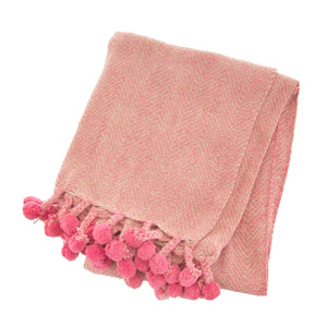 Nevada Pink Herringbone Blanket Throw - BouChic