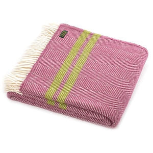 New Pure Wool Fishbone Throw Mulberry & Two Stripe Apple Green - BouChic