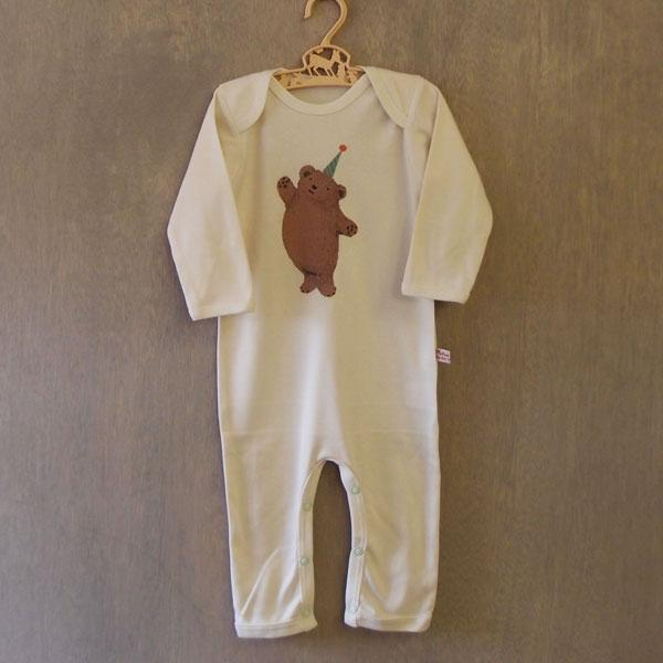 Organic Cotton Baby Rompersuit - Party Bear - BouChic