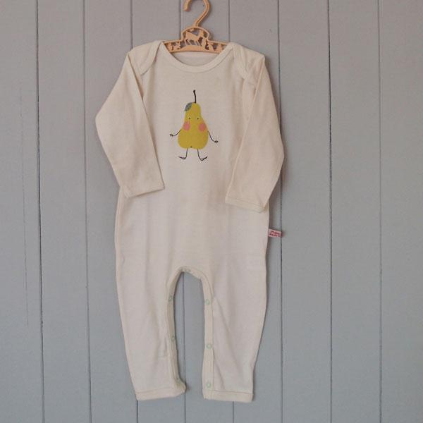 Organic Cotton Baby Rompersuit - Pear - BouChic